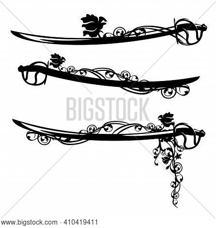Sabre Sword Blade Entwined With Rose Flowers Black And White Vector Silhouette And Outline Design Se