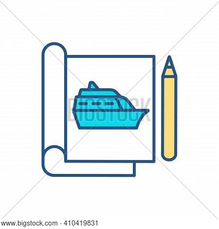 Naval Architecture Rgb Color Icon. Shipbuilding Technology. Naval Engineering. Marine Vessels And St