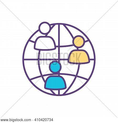 International Community Rgb Color Icon. Cross-cultural Friendships Development. Global Communication