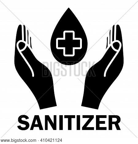 Hand Sanitizer, Glyph Icon. Sanitizer Symbol. Concept Of Hygiene, Cleanliness, Disinfection. Antibac