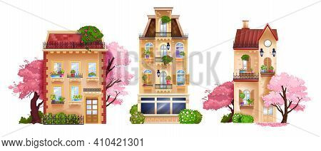 Vector Old Town House Facade Isolated Collection, Vintage Buildings, Retro Cottages, Spring Trees. E
