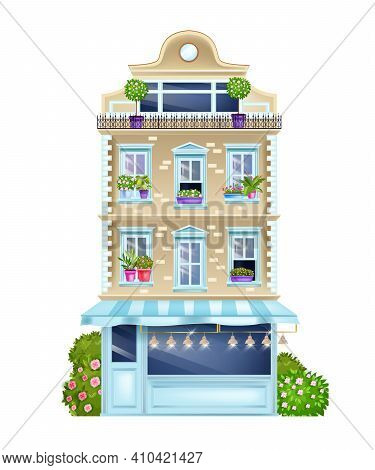 Vintage Building Facade, Old Paris House Front View Illustration With Classic Windows, Bushes, Shop