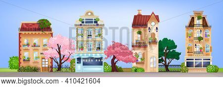 Vector House Facades, Vintage Buildings Street Illustration With Retro Residential Cottages, Bloom T