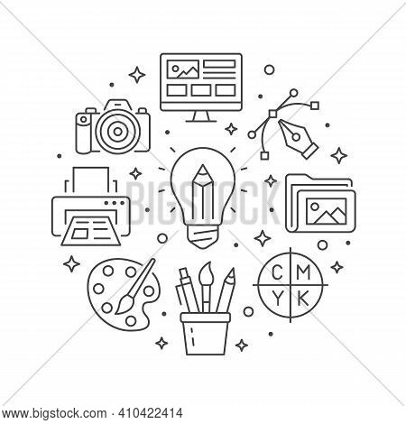 Graphic Design Circle Poster With Line Icons. Vector Illustration Included Icon As Bulp, Pencil, Pai