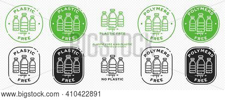 Сonceptual Stamps For Packaging Products. Marking - No Plastic. Stamp With A Flat Icon Of A Plastic