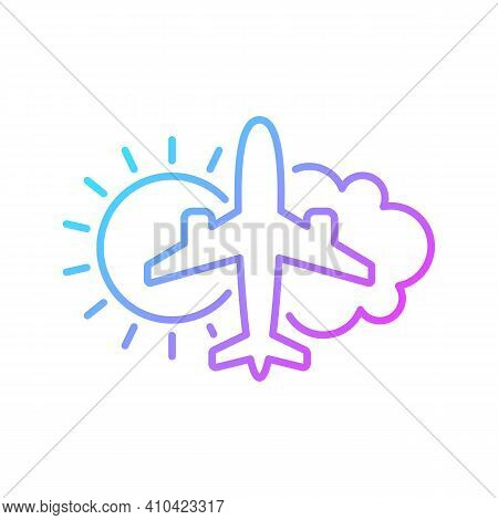 Aeronautical Meteorology Gradient Linear Vector Icon. Civil Aviation Issues. Plane With Sun And Clou