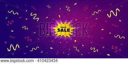 Mega Sale Sticker. Festive Confetti Background With Offer Message. Discount Banner Shape. Coupon Bub