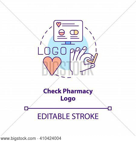 Check Pharmacy Logo Concept Icon. Online Pharmacy Idea Thin Line Illustration. Buying Medicine Onlin
