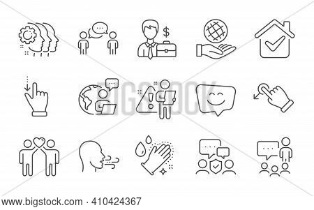 Businessman Case, People Chatting And Employees Teamwork Line Icons Set. Smile Face, Drag Drop And W