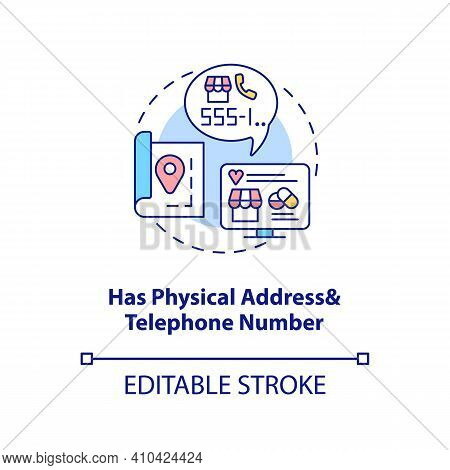 Has Physical Address And Telephone Number Concept Icon. Online Pharmacy Idea Thin Line Illustration.