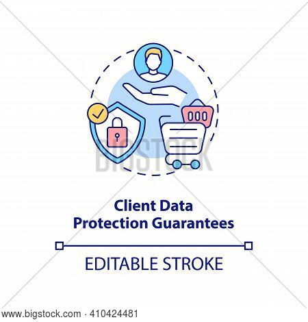 Client Data Protection Guarantees Concept Icon. Online Pharmacy Company Idea Thin Line Illustration.