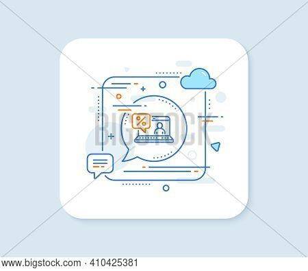 Online Loan Percent Line Icon. Abstract Square Vector Button. Discount Sign. Credit Percentage Symbo