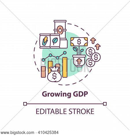 Growing Gdp Concept Icon. Market And Monetary Value Of Goods And Services Idea Thin Line Illustratio