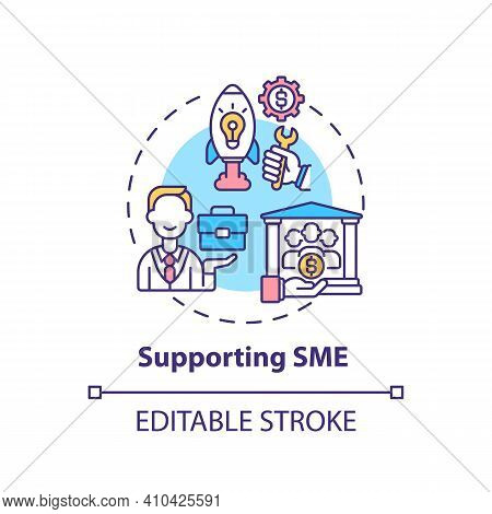 Supporting Sme Concept Icon. Support For Small And Medium Businesses Idea Thin Line Illustration. Ec
