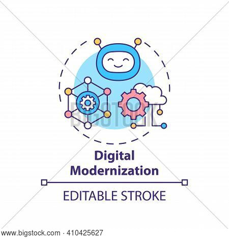 Digital Modernization Concept Icon. Upgrading New Technology Systems And Software Idea Thin Line Ill