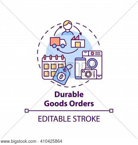 Durable Goods Orders Concept Icon. Manufacturers For Delivery Idea Thin Line Illustration. Shipments