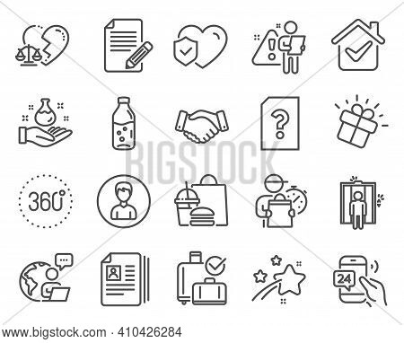 Business Icons Set. Included Icon As Person, Life Insurance, 360 Degrees Signs. Article, Elevator, D