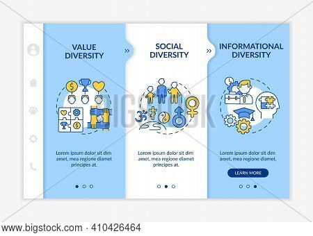 Top Management Diversity Types Onboarding Vector Template. Value And Social Diversity In Company. Re