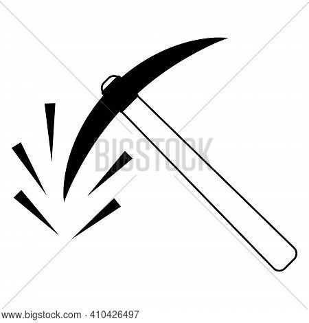 Pickaxe With Shards Symbol Of Mining Cryptocurrency, Vector Sign Of The Pickaxe Of Mining Token Bitc