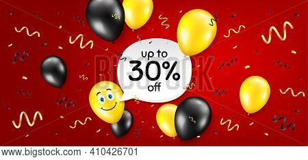 Up To 30 Percent Off Sale. Balloon Confetti Vector Background. Discount Offer Price Sign. Special Of