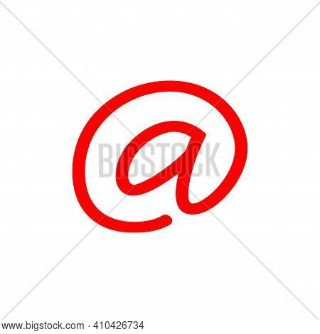 At Symbol Or Address Sign, Email Sign Icon Illustration - Vector