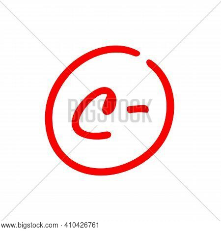 Letter C Minus, Grade Mark Illustration, Red Color Isolated On White Background - Vector