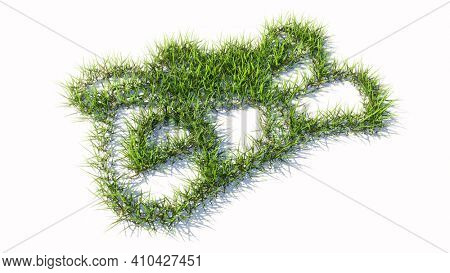 Concept or conceptual green summer lawn grass symbol isolated white background, sign of graduate diploma. A 3d illustration metaphor for academic achievement, knowledge, learning, future professional