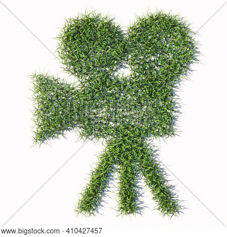 Concept or conceptual green summer lawn grass symbol shape isolated white background, sign of retro video camera. 3d illustration metaphor for movie production, television, old motion media recording