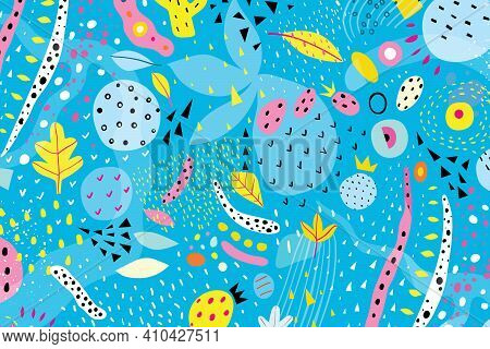 Modern Abstract Background In Blue Color And Hand Drawn Organic Bright Abstract Shapes. Vivid Orname