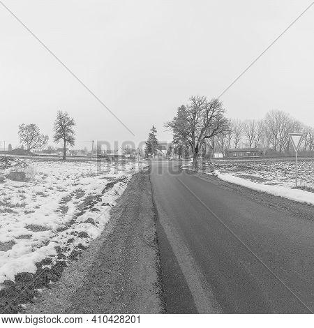 Polaky, Czech Republic - February 21, 2021: Way To Village In Winter
