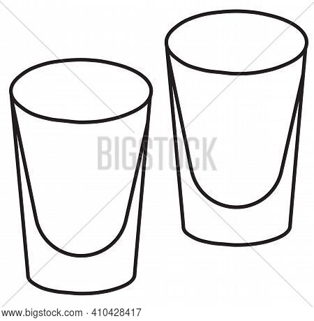 A Pair Of Stylish Hand-drawn Doodle Cartoon Style Shot Shooter Cocktail Glasses Vector Illustration.