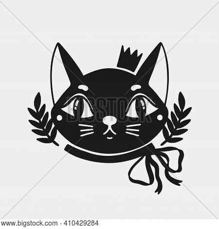 Cat Face Animal In A Crown And With A Bow On The Neck .silhouette Black Logo Isolated In White Backg