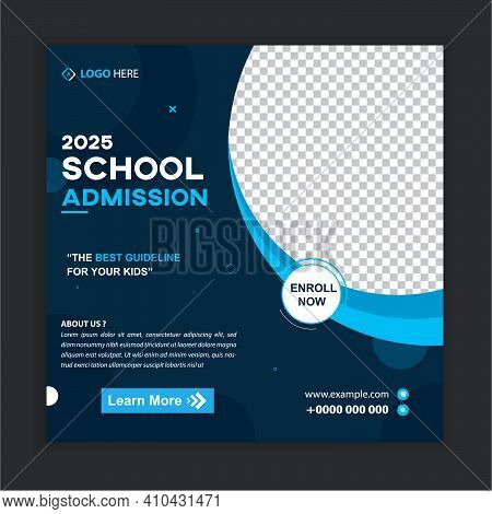 School Admission Social Media Post Banner Template. Kids Back To School Square Flyer Poster Layout.