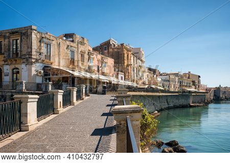 Waterfront of Ortigia island at city of Syracuse, Sicily, Italy.