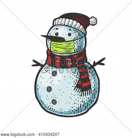 Snowman In Medical Mask Color Sketch Engraving Vector Illustration. T-shirt Apparel Print Design. Sc