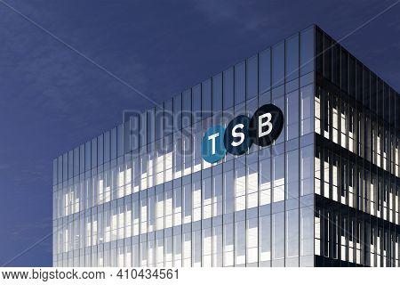 Edinburgh, United Kingdom. February 18, 2021. Editorial Use Only, 3d Cgi. Tsb Signage Logo On Top Of