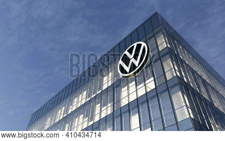 Wolfsburg, Germany. February 27, 2021. Editorial Use Only, 3d Cgi. Volkswagen Automaker Corporation