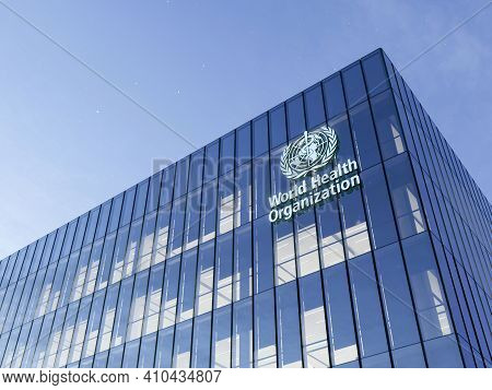 June 15, 2020. Editorial Use Only, 3d Cgi. World Health Organization Signage Logo On Top Of Glass Bu