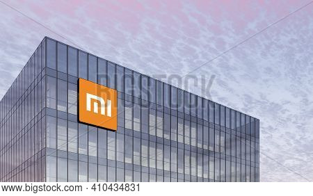 Beijing, China. February 27, 2021. Editorial Use Only, 3d Cgi. Xiaomi Holding Corporation Signage Lo