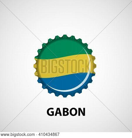 Flag Bottle Cap On White Background. Gabon Flag Background. Abstract Isolated Vector Illustration