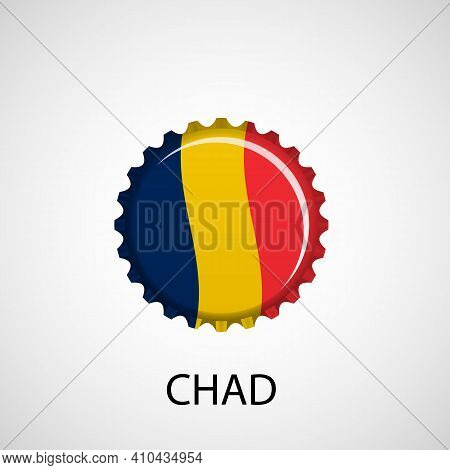 Flag Bottle Cap On White Background. Chad Flag Background. Abstract Isolated Vector Illustration