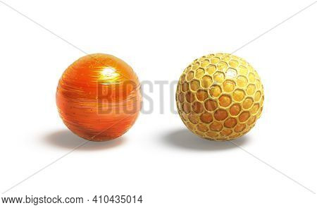 Blank Caramel And Honey Ball Mock Up, Isolated, 3d Rendering. Empty Round Sweet Lollypop And Honeyco
