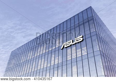 Taipei, Taiwan. February 18, 2021. Editorial Use Only, 3d Cgi. Asus Signage Logo On Top Of Glass Bui