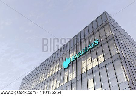 London, United Kingdom. February 18, 2021. Editorial Use Only, 3d Cgi. Barclays Signage Logo On Top