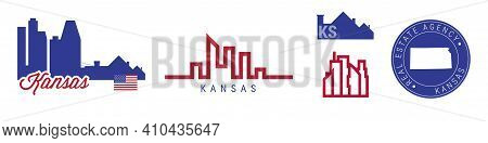 Kansas Real Estate Agency. Us Realty Emblem Icon Set. Flat Vector Illustration. American Flag Colors