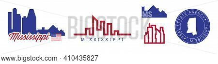 Mississippi Real Estate Agency. Us Realty Emblem Icon Set. Flat Vector Illustration. American Flag C
