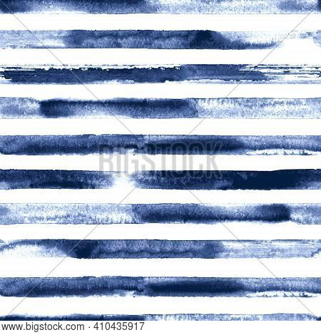 Watercolor Teal Blue Stripes On White Background. Blue And White Striped Seamless Pattern. Watercolo
