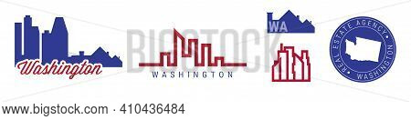 Washington Real Estate Agency. Us Realty Emblem Icon Set. Flat Vector Illustration. American Flag Co