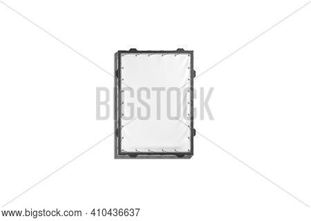 Blank White Small Rectangle Stretching Banner Black Grip Frame Mockup, 3d Rendering. Empty Vertical