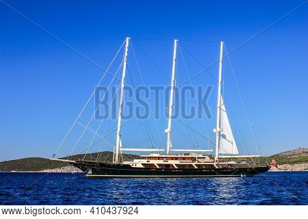 Hvar, Croatia - October 2, 2011: View Of A Luxury Sailboat Near Hvar Island On A Sunny Day
